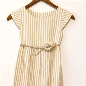 Zara Girls Linen Blend Dress w/rosette Belt